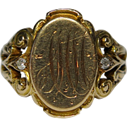 Antique Victorian Art Nouveau 10K Gold Diamond Signet Ring
