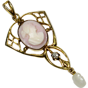 Antique Edwardian 10K Gold Cameo & Diamond Lavaliere Pendant