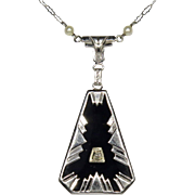Antique Art Deco 14K White Gold Onyx & Diamond Pendant Necklace