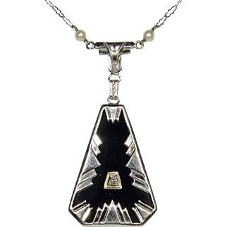 Antique Art Deco 14K White Gold Onyx & Diamond Pendant Necklace