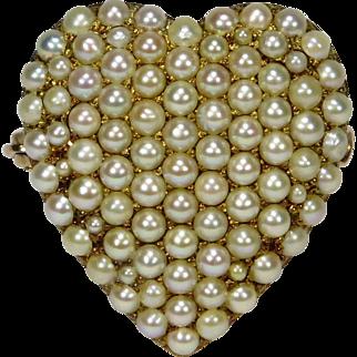 Antique Edwardian 14K Gold Seed Pearl Heart Watch Pin Brooch/Pendant