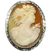 Antique Art Deco 14K White Gold Goddess Flora Shell Cameo Brooch