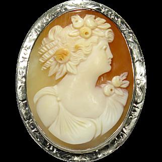 Antique Art Deco 14K White Gold Goddess Flora Shell Cameo Brooch