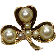 Antique Victorian 14K Gold Seed Pearl Shamrock Clover Stick Pin