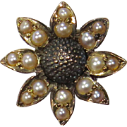 Antique Victorian 14K Gold Seed Pearl Daisy Flower Stick Pin