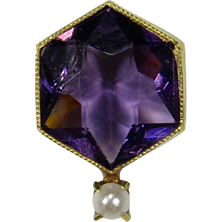 Antique Edwardian 10K Gold Amethyst Seed Pearl Stick Pin