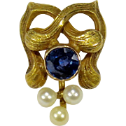 Antique Art Nouveau 14K Gold Sapphire Seed Pearl Stick Pin