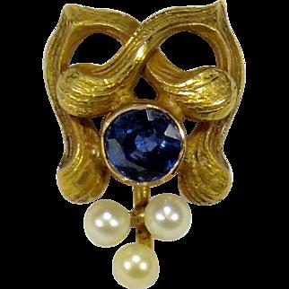Antique Art Nouveau 14K Gold Sapphire Seed Pearl Stick Pin