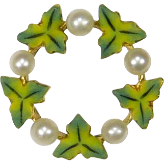 Antique Edwardian 14K Gold Enamel & Pearl Wreath Stick Pin