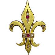 Antique French Victorian 18K Gold Diamond & Ruby Fleur De Lis/Lys Watch Pin/Brooch