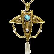 Antique Art Nouveau 14K Gold Turquoise, Diamond & Pearl Lavaliere Pendant
