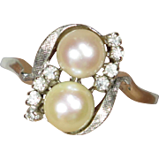 Vintage Retro 14K White Gold Double Pearl & Diamond Pearl Dinner Ring