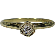Vintage Art Deco 14K 18K Gold Diamond Solitaire Engagement/Stacking Ring