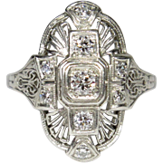 Antique Edwardian Platinum Diamond Filigree Dinner Ring