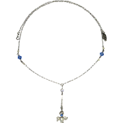 Arts & Crafts Sterling Silver Pearl & Crystals Lavaliere Pendant Necklace Conversion Piece