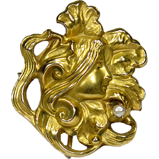 Antique Art Nouveau 10K Gold Floral Woman Seed Pearl Watch Pin/Brooch