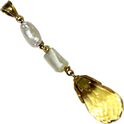 Antique Victorian 14K Gold Citrine & Pearl Lavaliere Pendant