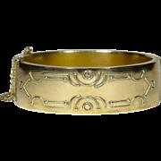 Antique Victorian Rolled Gold Large Hinged Bangle Bracelet