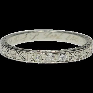 Vintage Art Deco 18K White Gold 3 Diamond Patterned/Etched Wedding Band Ring