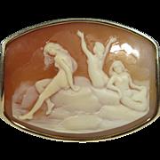 Vintage Late Art Deco 14K Gold Mermaids Metamorphosing into Nude Humans Cameo Brooch/Pendant