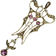 Antique Edwardian Belle Epoque 15CT Gold Seed Pearl & Pink Amethyst Large Lavaliere Pendant