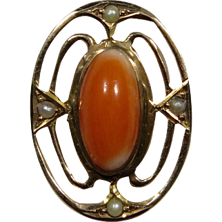 Antique Edwardian 10K Gold Seed Pearl & Coral Stick Pin