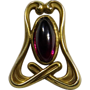Antique Art Nouveau 10K Gold Garnet Cabochon Stick Pin