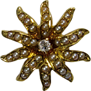 Antique Edwardian Krementz 14K Yellow Gold Seed Pearl & Diamond Starburst Sunburst Stick Pin
