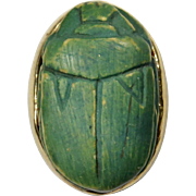 Antique Art Deco 10K Gold Egyptian Faience Scarab Stick Pin