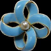 Antique Edwardian 14K Gold Enamel Love Lover's Knot Stick Pin