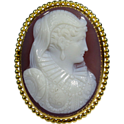 Antique Edwardian 14K Gold Renaissance Woman Carved Cameo Brooch Pendant