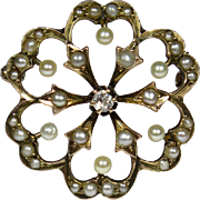 Antique Edwardian 10K Gold Seed Pearl & Diamond Scatter Pin Brooch