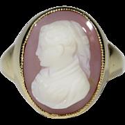 Vintage 14K Gold Antique Renaissance Woman Agate Cameo Ring