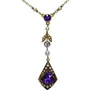 Antique Edwardian 14K Gold Amethyst, Seed Pearl & Diamond Lavaliere Pendant Necklace