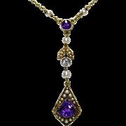 Antique Edwardian 14K Gold Amethyst, Seed Pearl & Diamond Lavaliere Pendant Necklace