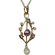 Antique Edwardian 14K Gold Seed Pearl & Baroque Purple Pearl Lavaliere Pendant