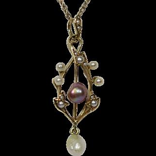 Antique Edwardian 14K Gold Seed Pearl & Baroque Purple Pearl Lavaliere Pendant