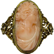 Antique Edwardian 14K Gold Filigree Angel Skin Coral Cameo Ring