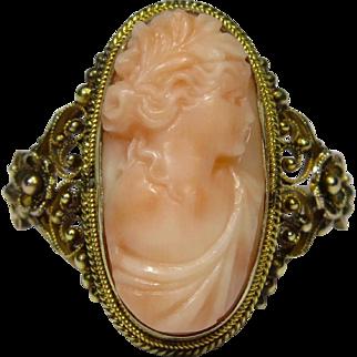 Antique Edwardian 14K Gold Filigree Angel Skin Coral Cameo Ring