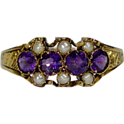 Antique Victorian 15CT Gold Seed Pearl & Amethyst Ring