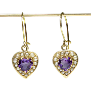 Antique Edwardian 10K Gold Amethyst Heart & Seed Pearl Dangle Earrings