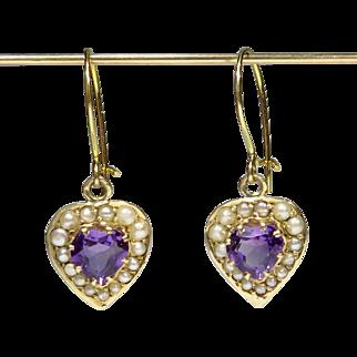 Antique Edwardian 10K Gold Amethyst Heart & Seed Pearl Dangle Earrings