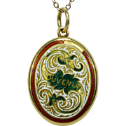Antique Victorian 18CT Gold Enamel SOUVENIR Locket w/Painted Portrait Miniature