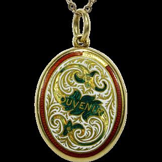 Antique Victorian 18CT Gold Enamel SOUVENIR Locket w/Painted Portrait Miniature