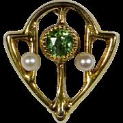 Antique Edwardian 10K Gold Peridot Seed Pearl Stick Pin