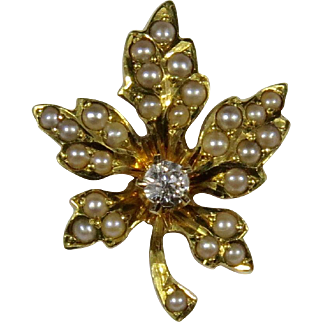 Antique Edwardian 14K Seed Pearl & Diamond Maple Leaf Stick Pin