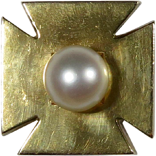 Antique Victorian 15CT & 9CT Gold Pearl Iron Cross Stick Pin