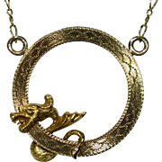Art Nouveau Edwardian 14K 10K Brooch Stick Pin Dragon Pendant Necklace Conversion Piece
