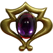 Antique Art Nouveau Link & Angell 14K Gold Amethyst Stick Pin