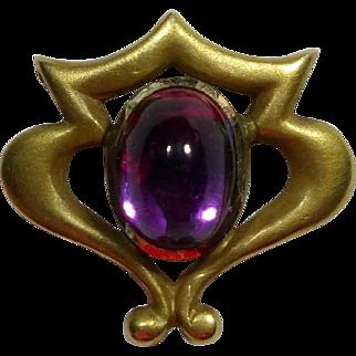 Antique Art Nouveau Link & Angell 14K Gold Amethyst Stick Pin